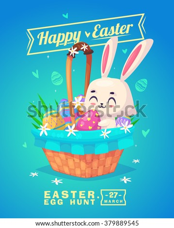 Happy Easter greeting card with bunny and eggs. Vector cartoon illustration. Cute stylish characters. Vector stock illustration. - stock vector
