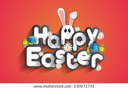 Happy Easter Greeting Card with Cartoon Rabbit And Eggs vector illustration - stock vector
