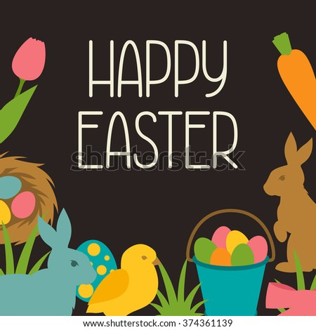 Happy Easter greeting card with decorative objects. Concept can be used for holiday invitations and posters.
