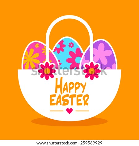 Happy Easter greeting card with Easter egg basket - stock vector