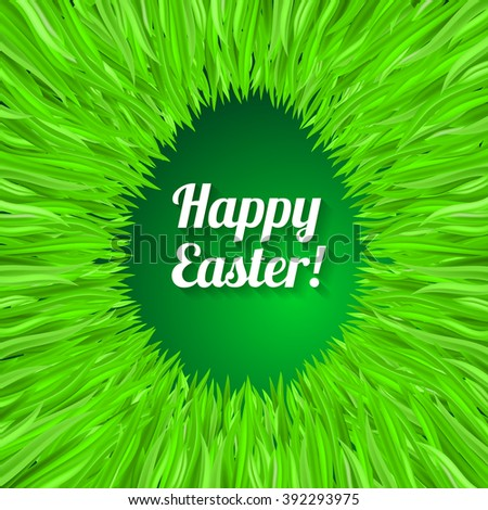 Happy Easter Greeting Card with Egg. Design in Green Grass - stock vector