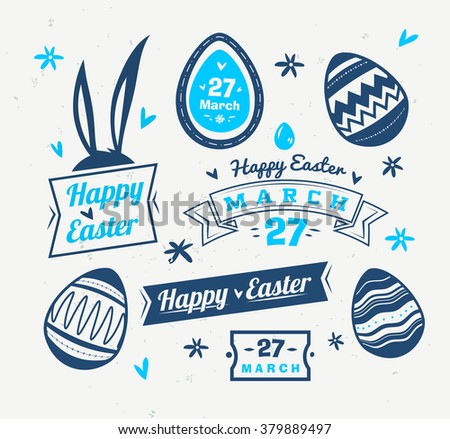 Happy easter greeting card logos labels stock vector 379889497 happy easter greeting card with logos labels and eggs vector cartoon illustration cute stylish m4hsunfo