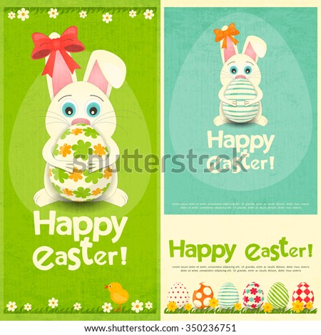 Happy Easter Greeting Cards Set. Easter Bunny holding Easter Egg. Vector Illustration. - stock vector