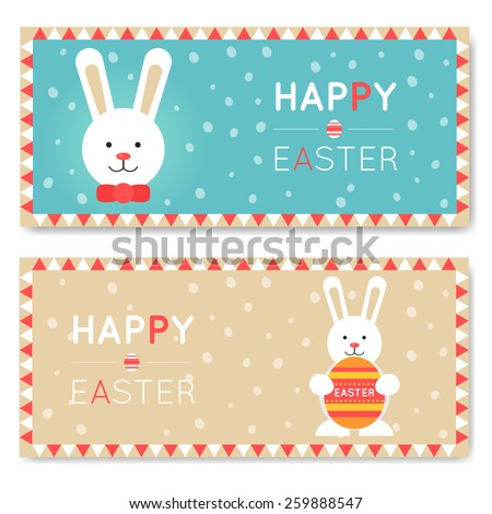 Happy Easter Greeting Cards Templates Easter Stock Vector