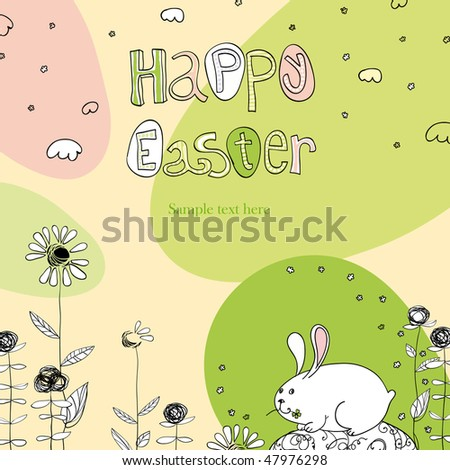 Happy Easter greetings. Cute colorful hand-drawn illustration. - stock vector