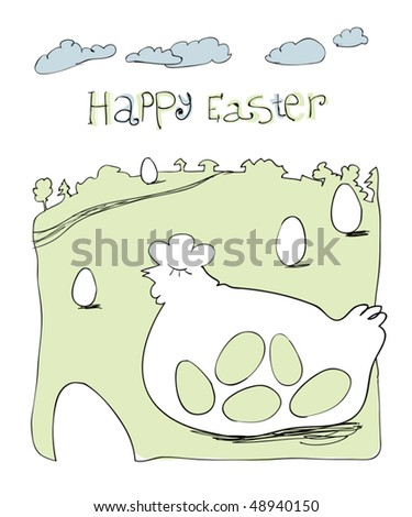 Happy Easter greetings. Cute hand-drawn illustration. - stock vector