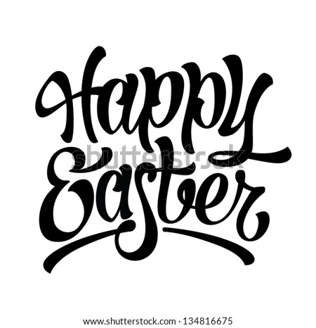 Happy Easter hand drawn lettering on white background - stock vector
