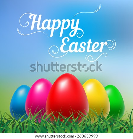 Happy Easter hand drown text. Typographical blurred background - stock vector