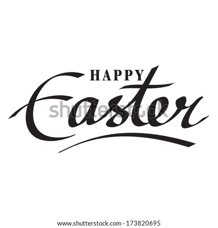 happy easter hand lettering handmade calligraphy - stock vector