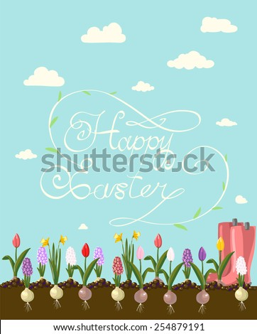 HAPPY EASTER hand lettering handmade calligraphy scalable and editable vector illustration - stock vector
