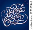 HAPPY EASTER hand lettering -- handmade calligraphy; vector (eps8) - stock vector