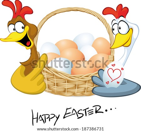 happy easter - hen in love hold basket with eggs - cartoon illustration - stock vector