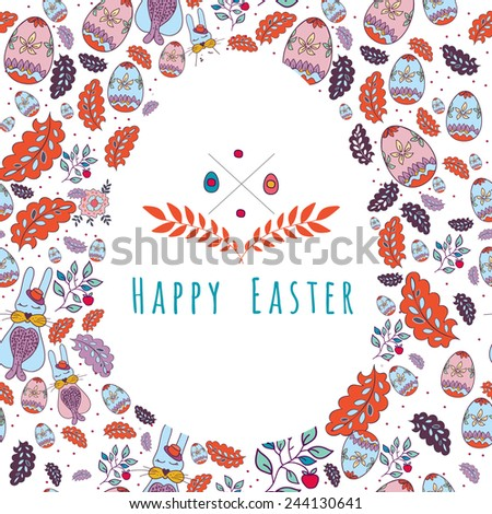 Happy Easter Hipster Greeting Card  elements with  Eggs. Vector illustration - stock vector