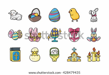 Happy easter icons set,eps10 - stock vector