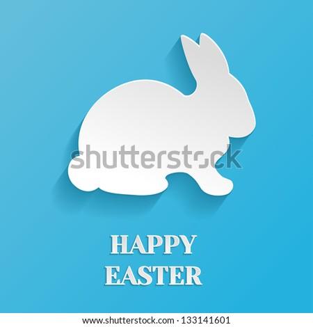 Happy Easter Illustration - White Rabbit Bunny on Blue Background - stock vector