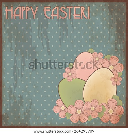 Happy Easter invitation post card, vector illustration - stock vector
