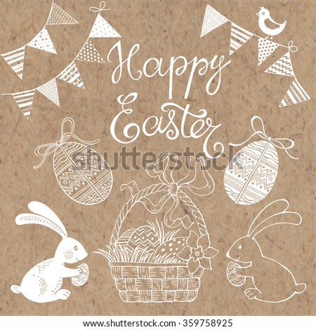 Happy Easter.  Isolated design elements for invitations, greeting cards, flyers. Festive vector set on kraft paper. - stock vector