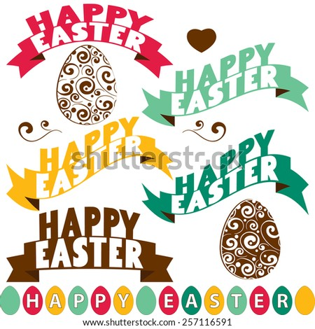 Happy Easter labels set, Typographical Background. vector design  - stock vector