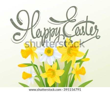 Happy easter lettering calligraphy card. Happy Easter greeting card with flowers elements composition. Happy Easter poster template - stock vector