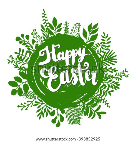 Happy Easter lettering design greeting card template. Lettering design for posters, t-shirts, cards, invitations, stickers, banners, advertisement, social media content. Happy Easter. Vector. - stock vector