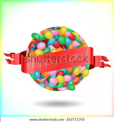 Happy Easter lettering on red banner with Jelly Bean round background - stock vector