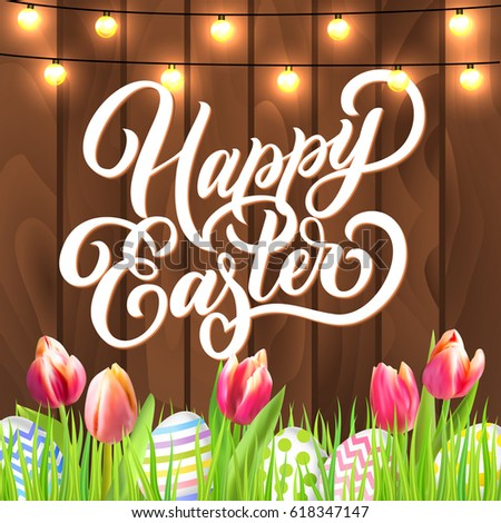 Happy Easter Lettering Eggs Garland Tulip Stock Vector 618347147