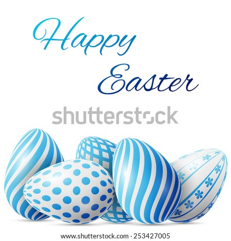 Happy Easter, many white-blue eggs with different patterns on a white background, excellent vector illustration, EPS 10 - stock vector