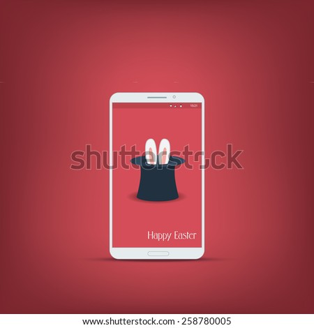 Happy easter message with smartphone. Bunny symbol with ears on red background. Suitable for advertisement and promotional. Eps10 vector illustration - stock vector