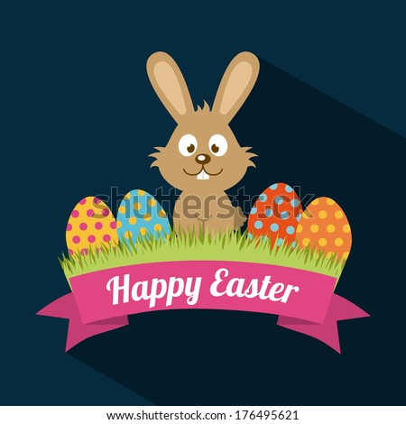 happy easter over blue background vector illustration - stock vector