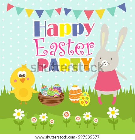 happy easter party card stock vector royalty free 597535577