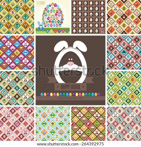 Happy Easter! Perfect big set of holiday backgrounds. Collection of seamless patterns. Suitable for posters and prints, wallpaper, textiles, scrapbooking, gift wrap and packaging. Vector illustration. - stock vector