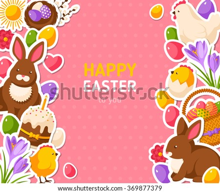 Happy Easter Pink Banner With Flat Sticker Icons. Vector Illustration. Easter Rabbit, Colorful Eggs. Hen and Cute Chicken. Spring Easter Concept with place for text. Season Greetings. - stock vector