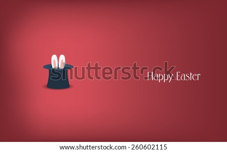 Happy Easter postcard design. Bunny ears in magician or illusionist hat. Hiding rabbit, red background. Eps10 vector illustration. - stock vector