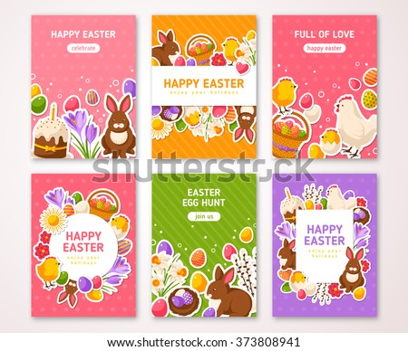 Happy Easter Poster, Banner, Greeting card, Flyer, Menu Templates. Vector illustration. Traditional symbols, flat icons. Frame with Easter Signs. Easter cake, Rabbit, Crocus, Colorful eggs - stock vector