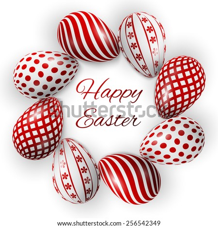 happy easter poster, red eggs with different patterns on a white background - stock vector