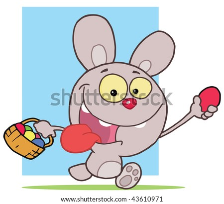 Happy Easter Rabbit Running And Holding Up An Egg Carrying A Basket