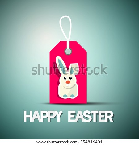 Happy Easter Retro Card with Bunny on Pink Label - stock vector