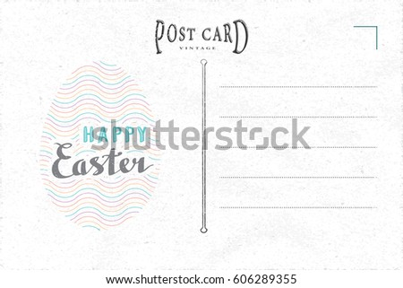 Vintage Postcard Inner Side Blank Template Vector 543293257 – Easter Postcard Template