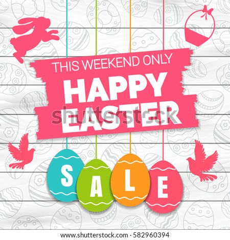 happy easter sale offer banner templateのベクター画像素材 582960394