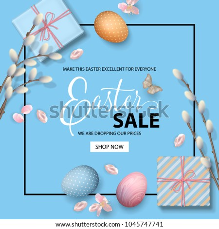 Happy easter sale promo poster holiday stock vector 1045747741 happy easter sale promo poster holiday background with painted eggs gifts pussy willow negle Images