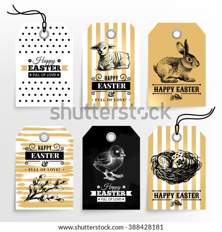 Happy Easter sale tags. Holiday labels set. Hand drawn sketch vintage vector illustrations. Gold design - stock vector