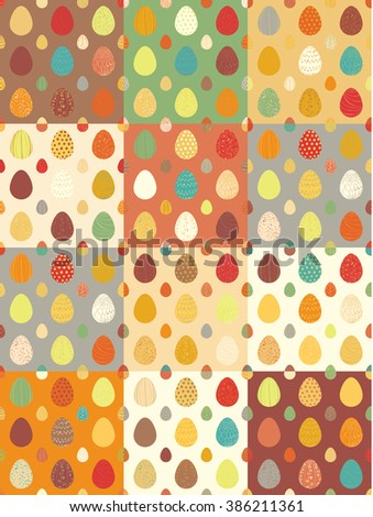 Happy Easter seamless pattern. Hand drawn Vector illustration with colorful decorative easter eggs. Multi-colored Set. - stock vector