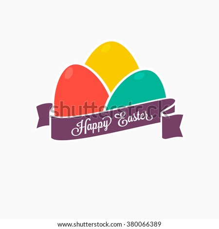 Happy Easter. Set of colorful eggs with ribbon for design, cards and invitations. - stock vector