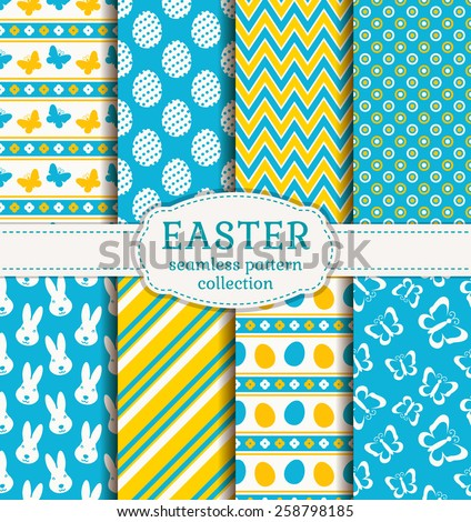 Happy Easter! Set of cute holiday backgrounds. Collection of seamless patterns in white, blue and yellow colors. Vector illustration.  - stock vector