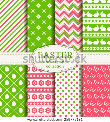 Happy Easter! Set of cute holiday backgrounds. Collection of seamless patterns in white, green and pink colors. Vector illustration.  - stock vector