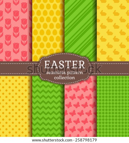 Happy Easter! Set of cute holiday backgrounds. Collection of seamless patterns in yellow, green and pink colors. Vector illustration.  - stock vector