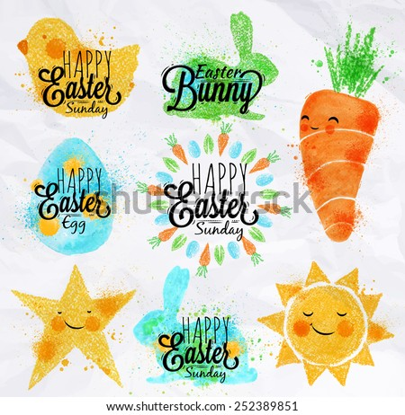 Happy easter symbols painted pastel colored stylized kids style, sun, sun, chicken, egg, rabbit, carrot, star - stock vector