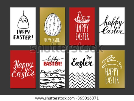 Happy Easter. Template design cards with nest and Easter eggs. Modern calligraphy. Hand drawn inscription and elements. Handwritten brush lettering with rough edges. Ink brush hand lettering. - stock vector