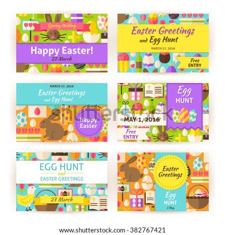 Happy Easter Template Invitation Modern Set. Flat Design Vector Illustration of Brand Identity for Spring Religious Holiday Promotion. Colorful Pattern for Advertising.