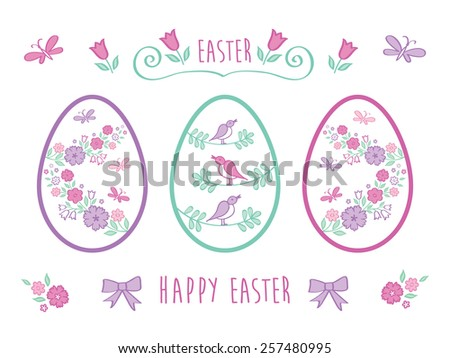 Happy Easter. The set of hand drawn colored decorative elements for your design. Floral elements for easter. Doodles, sketch. Congratulation. Vector illustration. - stock vector